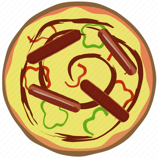 fast food, fastfood, hot, meal, pepper, pizza, sausage icon