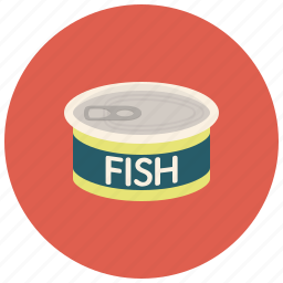 fish, food, metal cans, preservation icon