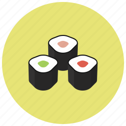 dinner, food, japanese food, rolls, sushi icon