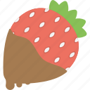 chocolate dip, confectionery, dessert bar, healthy fruit, strawberry in chocolate icon