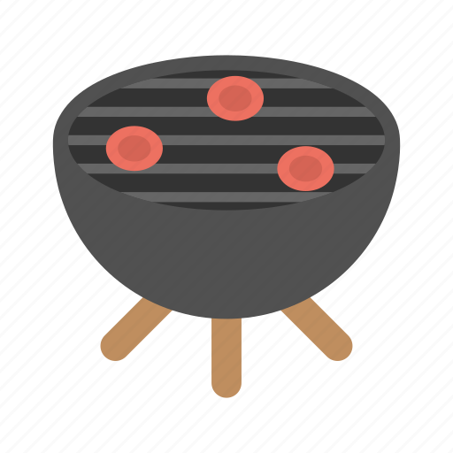 Barbeque grill, outside camping, bbq party, tasty skewers, grilled food icon