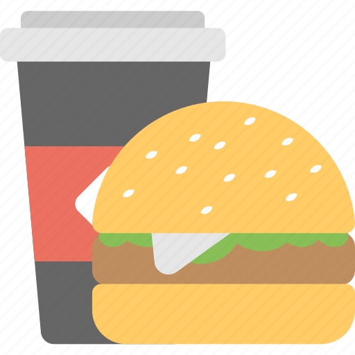 fast food, hamburger with coke, junk food, takeaway food, unhealthy eating icon