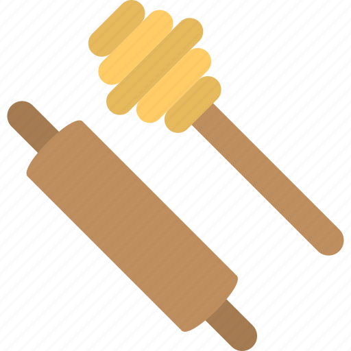 honey dipper, kitchen accessory, kitchenware, rolling pin, utensils icon