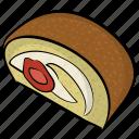 cream roll, dessert, jelly roll, sponge cake, swiss roll