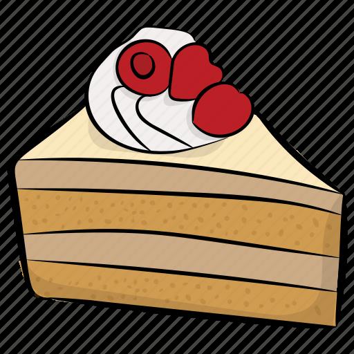 bakery food, cake piece, cake slice, strawberry cake, sweet food icon