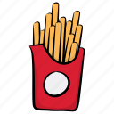 french fries, fries box, frites, potato fries, snack box icon