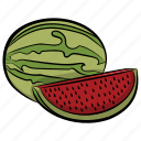 food, fruit, healthy food, watermelon, watermelon slice icon