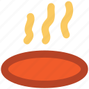 cooker on fire, cooking, hot food, meal, steam icon