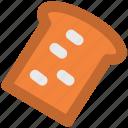 bakery, bread, breakfast, gluten, loaves of bread, sponge cake, toast icon