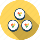 food, japan, japanese rice rolls, kitchen, meal, restaurant, sushi icon