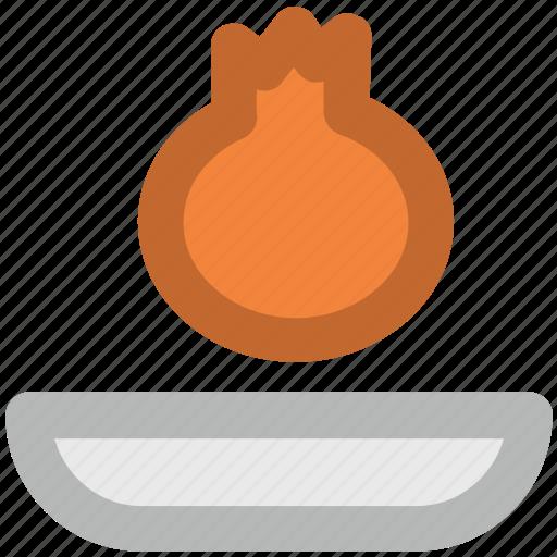 food, pomegranate, pomegranate on plate, punica granatum, reddish berry, spherical fruit icon