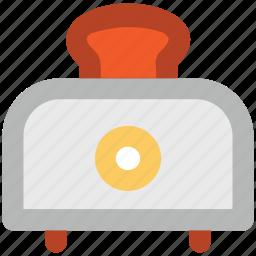 bread slice, breakfast, electronics, toaster, toasting in toaster icon