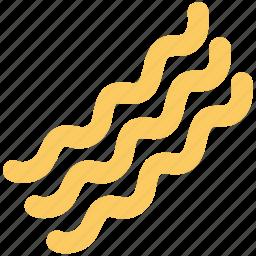 bacon, cooked bacon, noodles, pasta, spaghetti, vermicelli icon