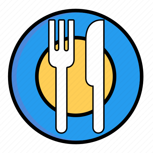 fork, kitchen, knife, meal, plate, restaurant, spoon icon