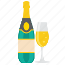 champagne, drink, bottle, glass, wine icon