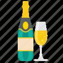 champagne, drink, glass, bottle, wine