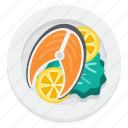 fish, fishplate, food, salmon icon