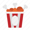 bucket, chicken, food, fried, leg icon