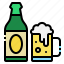 beer, bottle, glass, mug, restaurant icon