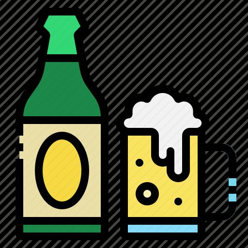 beer, bottle, glass, mug, restaurant icon