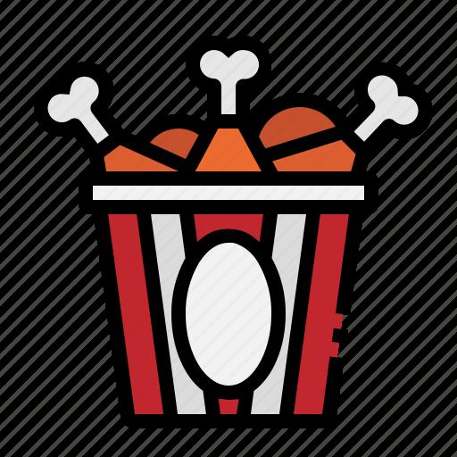 Bucket, chicken, food, fried, leg icon