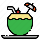 coconut, drink, juice, summer, tropical icon