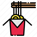box, chopsticks, food, noodles, restaurant icon