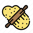 bake, cooking, dough, pin, rolling icon