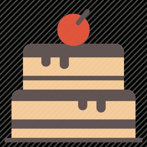 bakery, birthday, cake, cherry, chocolate icon