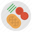 food, meat, plate, steak, tomato icon
