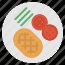 food, meat, plate, steak, tomato