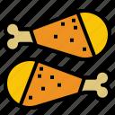 chicken, chickendrumstick, drumstick icon