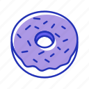 donuts, pastry, sweat icon