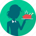 dining, dinner, eat, food, restaurant, restaurant service, waitress icon