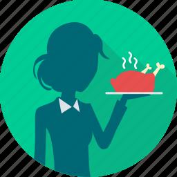 dining, dinner, eat, food, restaurant, restaurant service, waitress icon