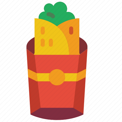 and, burrito, drink, food, mexican, takeaway, wrap icon