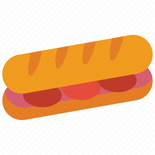 and, baguette, drink, food, sandwich, snack icon