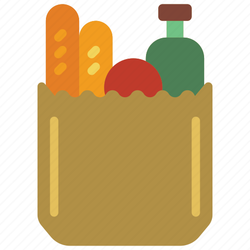 and, bag, carrier, drink, food, groceries, shopping icon