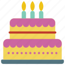 and, food, candles, drink, birthday, dessert, cake icon