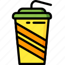 and, cup, drink, food, soda, straw, takeaway icon