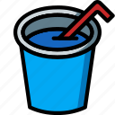 and, cup, drink, food, juice, straw icon