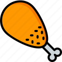 chicken, drink, dumstick, food, leg, meat, turkey icon