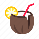 cocktail, coconut, drink, food icon