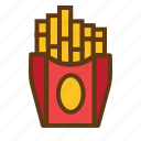 breakfast, fast, food, friench fries, potato, potato stick icon