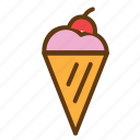 cherry, cream, dessert, food, ice, ice cream icon