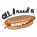 café, fast, food, hot dog, networking, restaurant, sticker icon