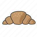 café, croissant, food, networking, pastry, restaurant, sticker icon