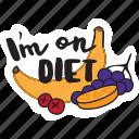 café, diet, food, fruits, networking, restaurant, sticker icon