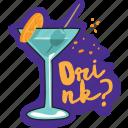café, cocktail, drink, food, networking, restaurant, sticker icon