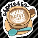 café, coffee, drink, espresso, networking, restaurant, sticker icon